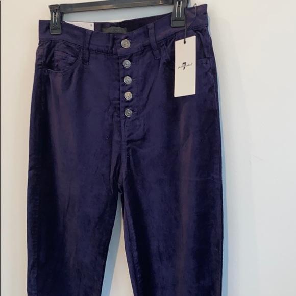 NEW 7 For All Mankind Dark Purple Velvet Jeans